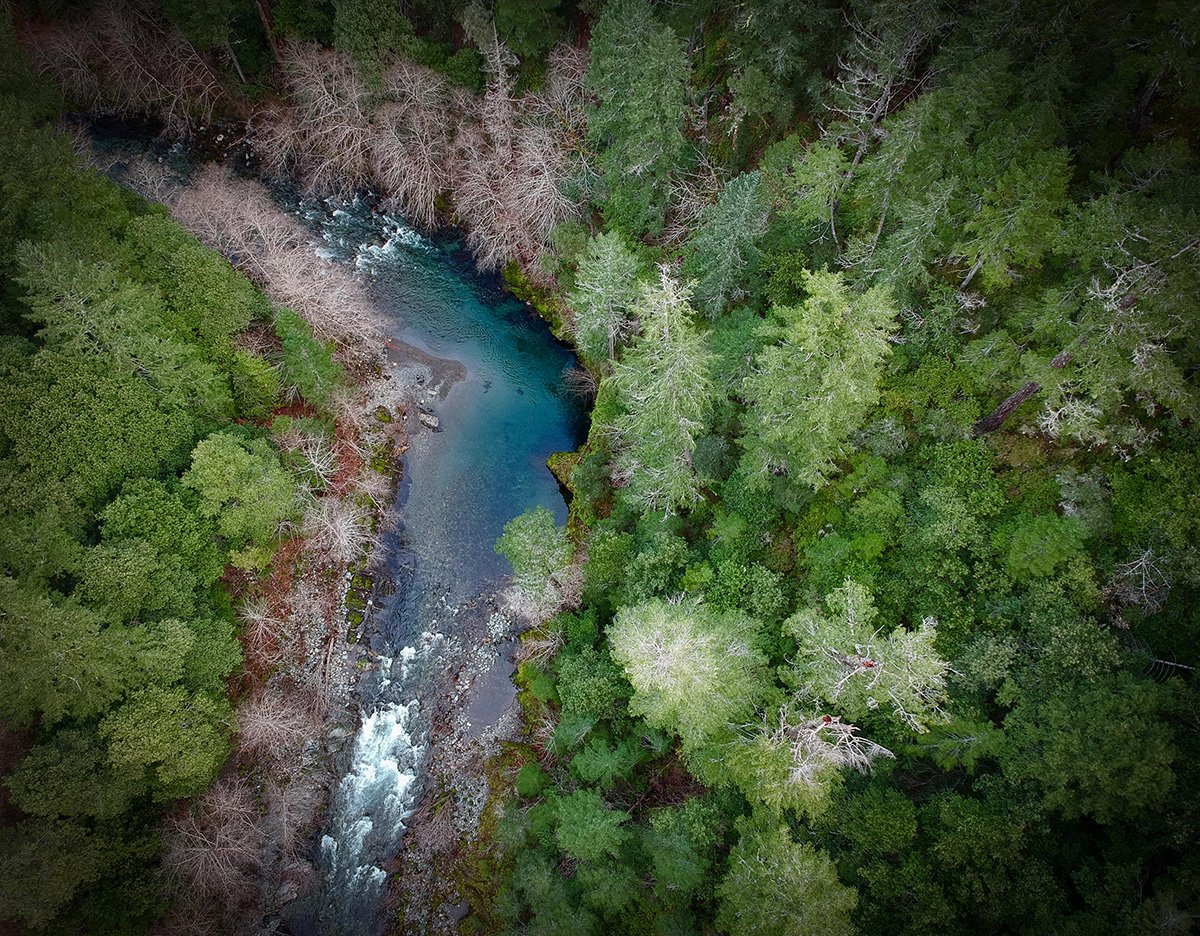 Drone photo of Smith River in Oregon - Website Design & Photography Based in Chico, CA