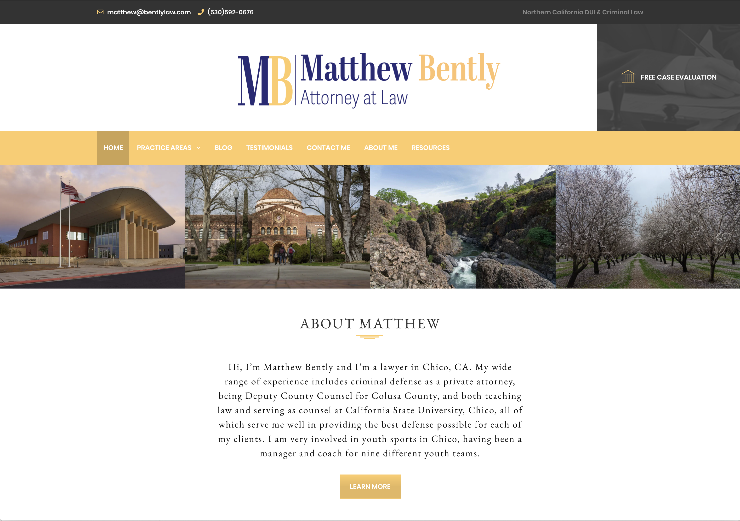 Attorney website designed by Solo Creative Services - Website Design & Photography Based in Chico, CA