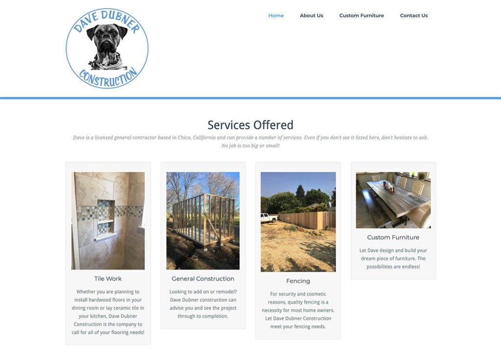 Website created for a local General Contractor