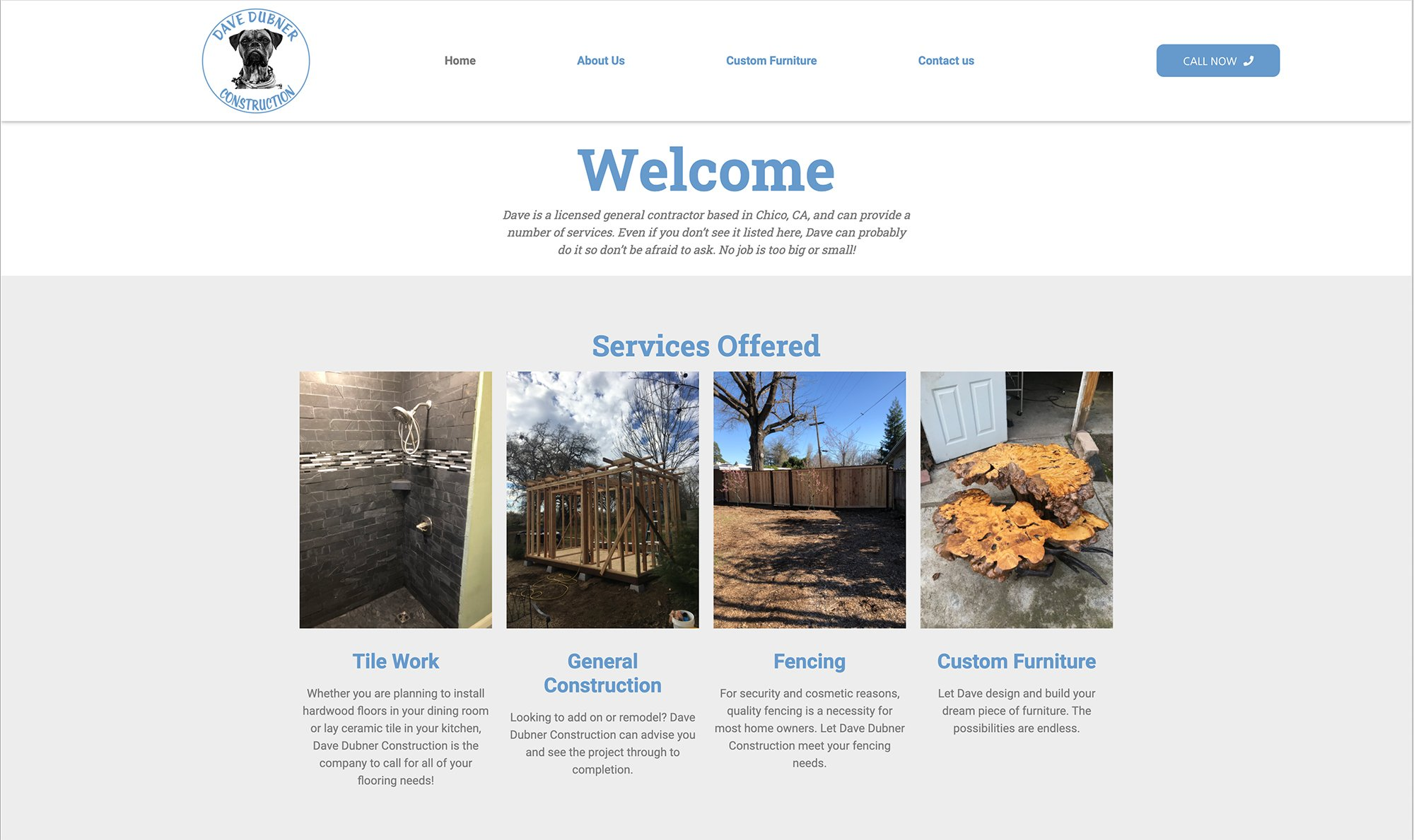 Website designed for a Chico, CA General Contractor
